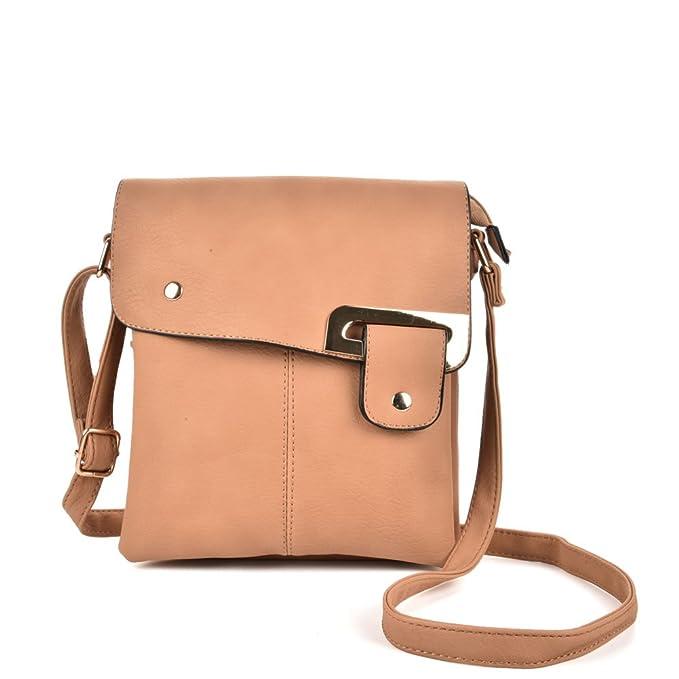 d9d54bacbdbc GLITZALL Crossbody Bag Small Satchel Faux Leather Wallet Cute Case School Messenger  Bag (Apricot