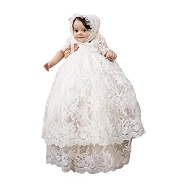 8414cf359 Long Ivory Christening Gown for Baby Girls Lace Baptism Dress with Bonnet 3M