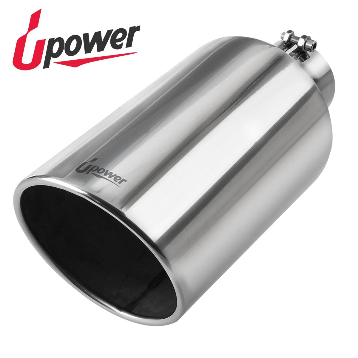 Upower Diesel 4 Inch Inlet to 8'' Exhaust Tip 304 Mirror Polished Exhaust Tailpipe 18'' Long 45Degree Angle Cut Bolt-On by Upower