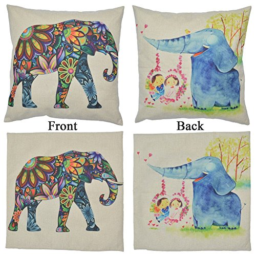 WayHomeDecor Cotton Linen Decorative Throw Pillow Case Cushion Cover Cute Elephant 18 ?X18 ...