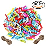 Tretree Mini Wooden Clips Set of 200, Small Colored Craft Pegs Clothespins with 2 Hemp Rope for Hanging Photos,Outdoor,Computer,Letter Paper,Waterproof