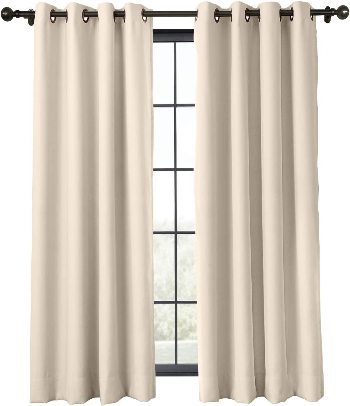 ChadMade Flame Retardant Curtain Antique Bronze Grommet Eyelet Beige 52W x 63L Inch Thermal Insulated Blackout (1 Panel) Exclusive