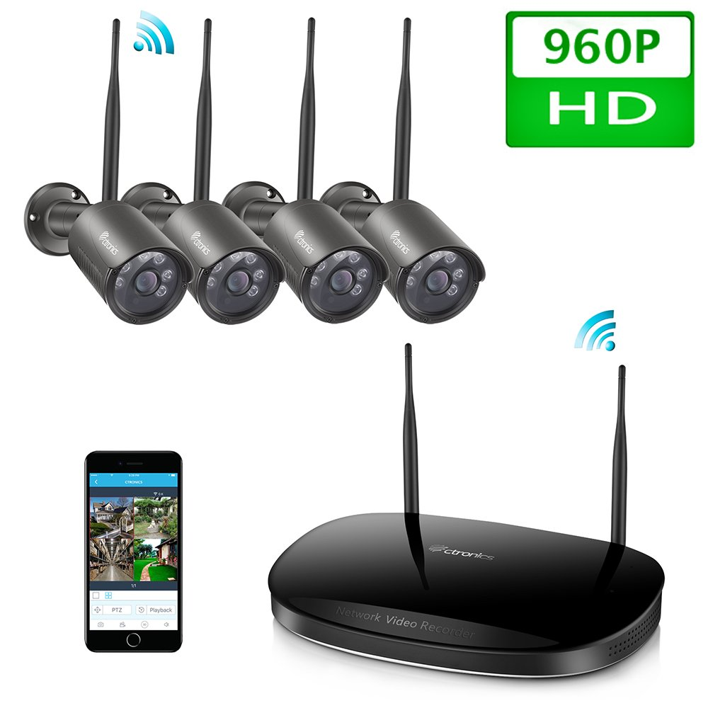 4CH 1080P Hybrid DVR HD Indoor Outdoor Wireless Home Security ...