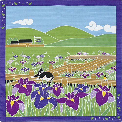 Furoshiki Small-size Japanese Wrapping Cloth Traveling-cat Cat Japanese Iris May