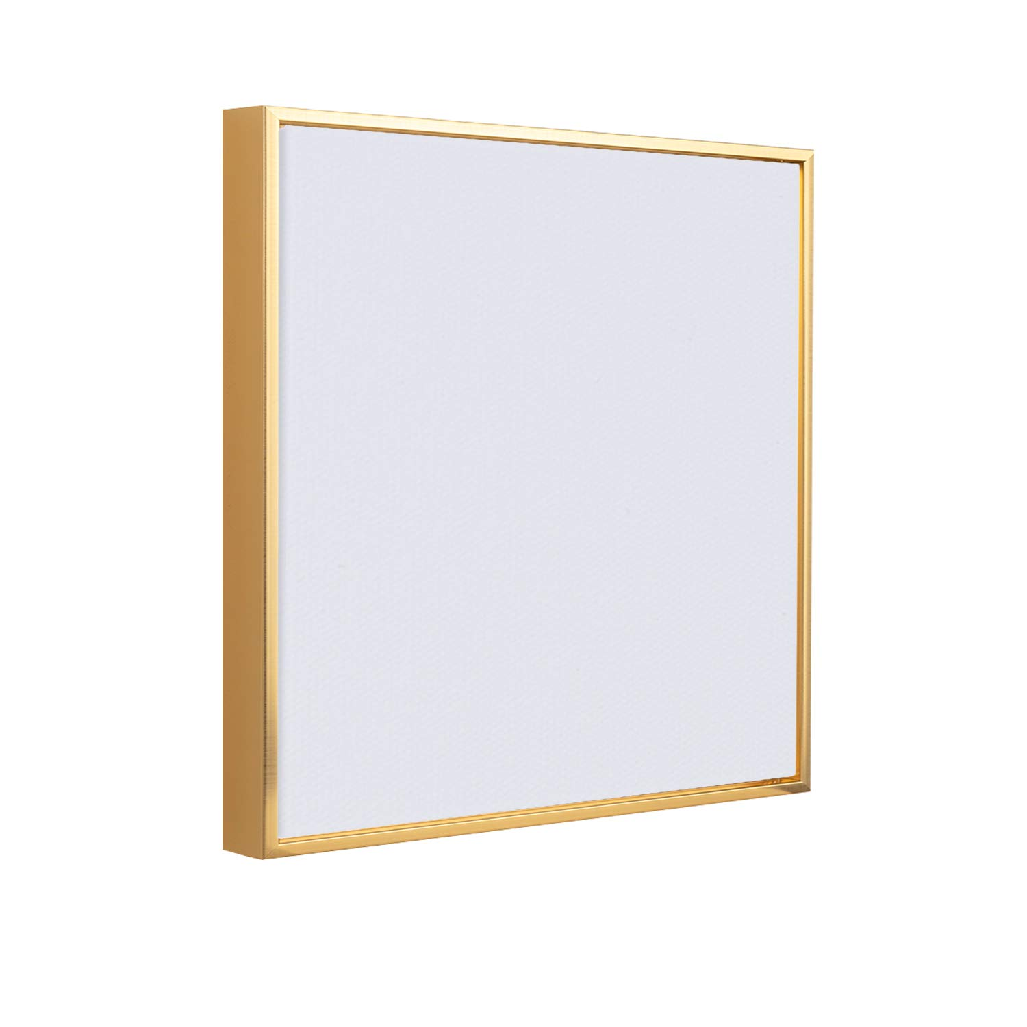 Square Floater Frame + Stretched Canvas for Painting | 1-3/8'' Thick Frame + 3/4'' Deep Canvas | 11 oz Premium Canvas Fabric | 100% Natural Non Primed Cotton (Brass Gold, 14 x 14 inch)