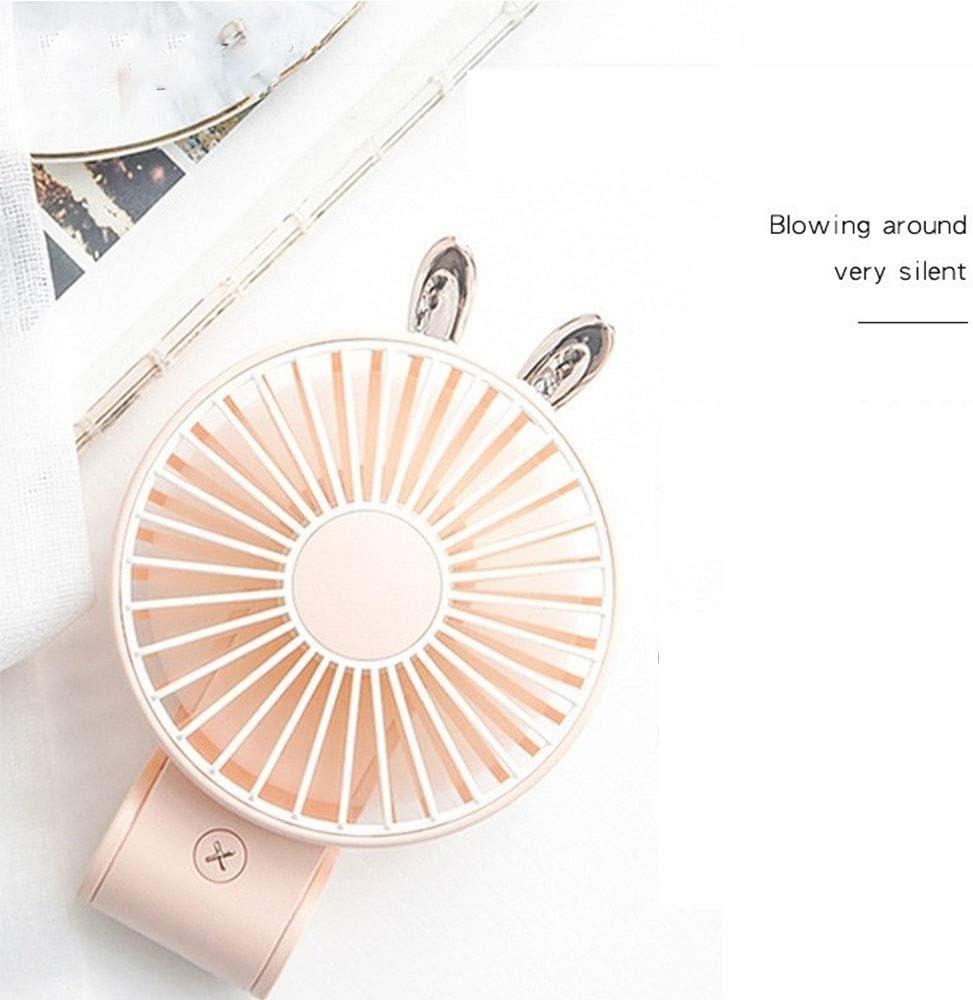 Color : Brown Creative Charging Hanging Neck Small Fan Outdoor Handheld Folding Mini Portable Cooling Fan Mini USB Fan