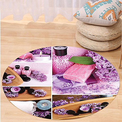 VROSELV Custom carpetHome Decor Collection Aromatic Spa with Lilac Petals Fresh Therapy Oils Bath Salt Soap Relax Theme Meditation Collage Bedroom Living Room Dorm Violet Round 34 inches