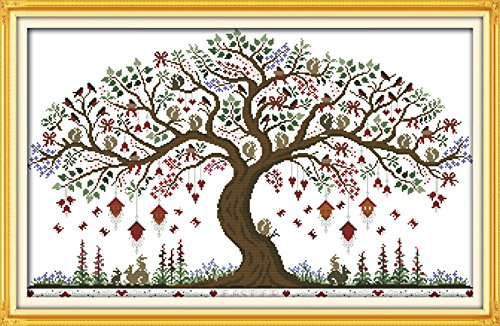 YEESAM ART New Cross Stitch Kits Advanced Patterns for Beginners Kids Adults - Love Tree 11 CT Stamped 79×52 cm - DIY Needlework Wedding Christmas (Heart Birth Sampler)