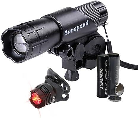 Sunspeed LED Linterna Regarcable para Bicicleta Ciclismo Seguridad Impermeable Luz Frontal Ultra Brillante y Cola de Seguridad Con 18650 Baterías: Amazon.es: Deportes y aire libre