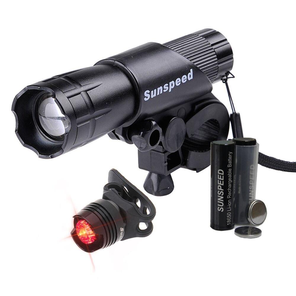 Sunspeed LED Linterna Regarcable para Bicicleta Ciclismo Seguridad Impermeable Luz Frontal Ultra Brillante y Cola de Seguridad Con 18650 Baterías