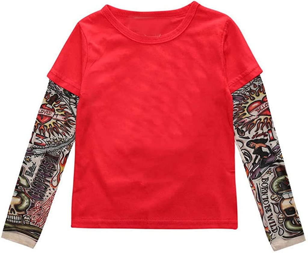 Molisell Toddler Kids Boy Girl Tattoo Sleeve Shirt Cotton Pullover Tee Tops Novelty Outfit Clothes Gift