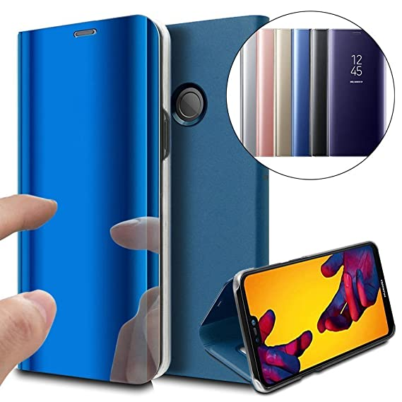 ISADENSER Huawei P20 Lite Case Mirror for Women [Kickstand] Electroplate Plating Mirror Effect PU Protective with Magnetic Closure Flip Shockproof ...