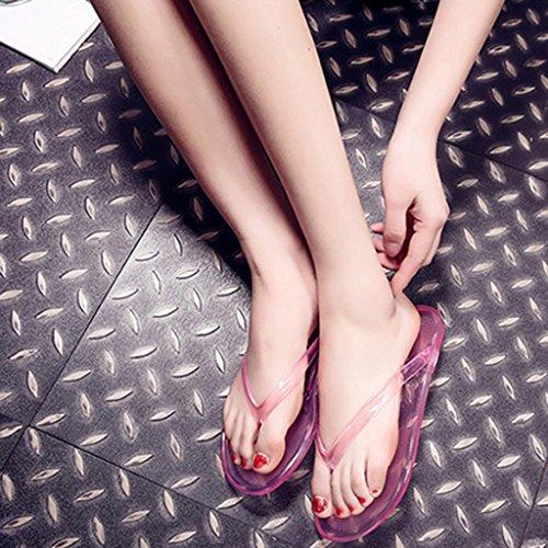 Top-Sell Mujer Flip Flops Plancha Anti Deslizamiento Baño Zapatillas Impermeable Transparente Sandalias Rosa
