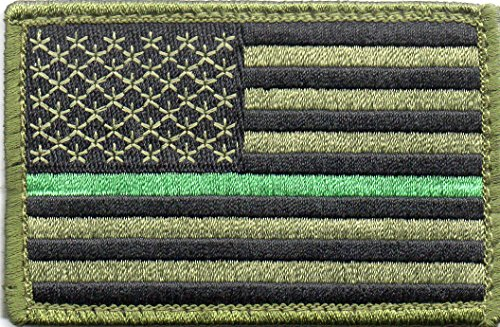 Green US Flag Thin Green Line Patch for Park Rangers, US Border Patrol, and Environment Services Personnel with Hook/Loop Backing (Best Bottom Forest Fellows)