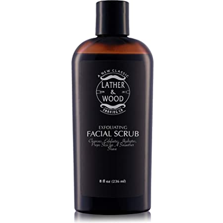 Best Face Wash for Men – Lather Wood s Face Scrub – Luxurious Exfoliating Mens Face Wash for the Man s Man. 8oz Facial Cleanser for Men.