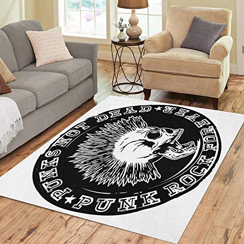 Pinbeam Area Rug Stamp Skull and Lettering Punks