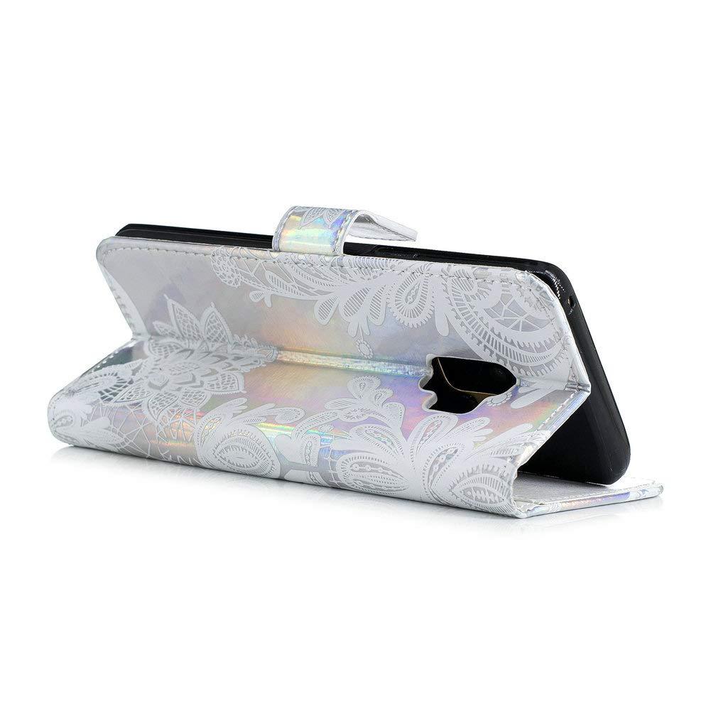 Cuir PU et Silicone Flexible Interne Protefeuille Flip Cover Anti-Rayures Housse 5.8 Pouces Dragonne Cou Coopay Mandala Attrape Reve Bleu Motif Pochette Coque Etui pour Samsung Galaxy S9