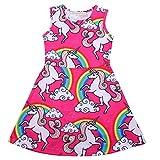 acefast inc toddler - Baby Girls Cartoon Cute Pink Unicorn Printed Sleeveless Sundress A line Skirt