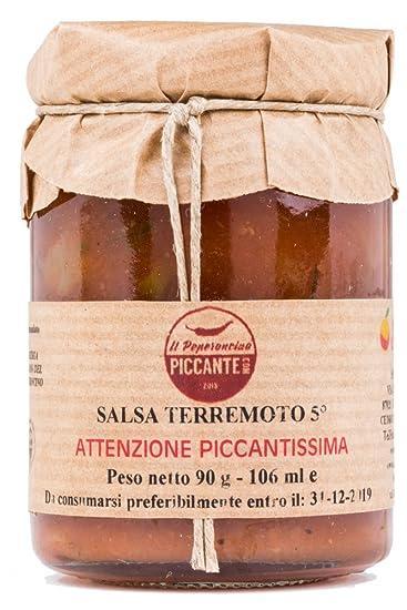 Salsa picante TERREMOT 5° con extracto de capsaicina, atención: ¡Extremadamente picante!