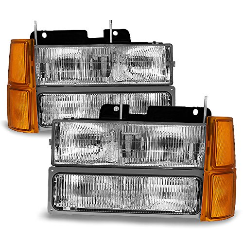 (For 94-98 GMT400/480 Chevy GMC C/K Series Pickup Truck Suburban Blazer Tahoe Headlight + Bumper + Corner light)