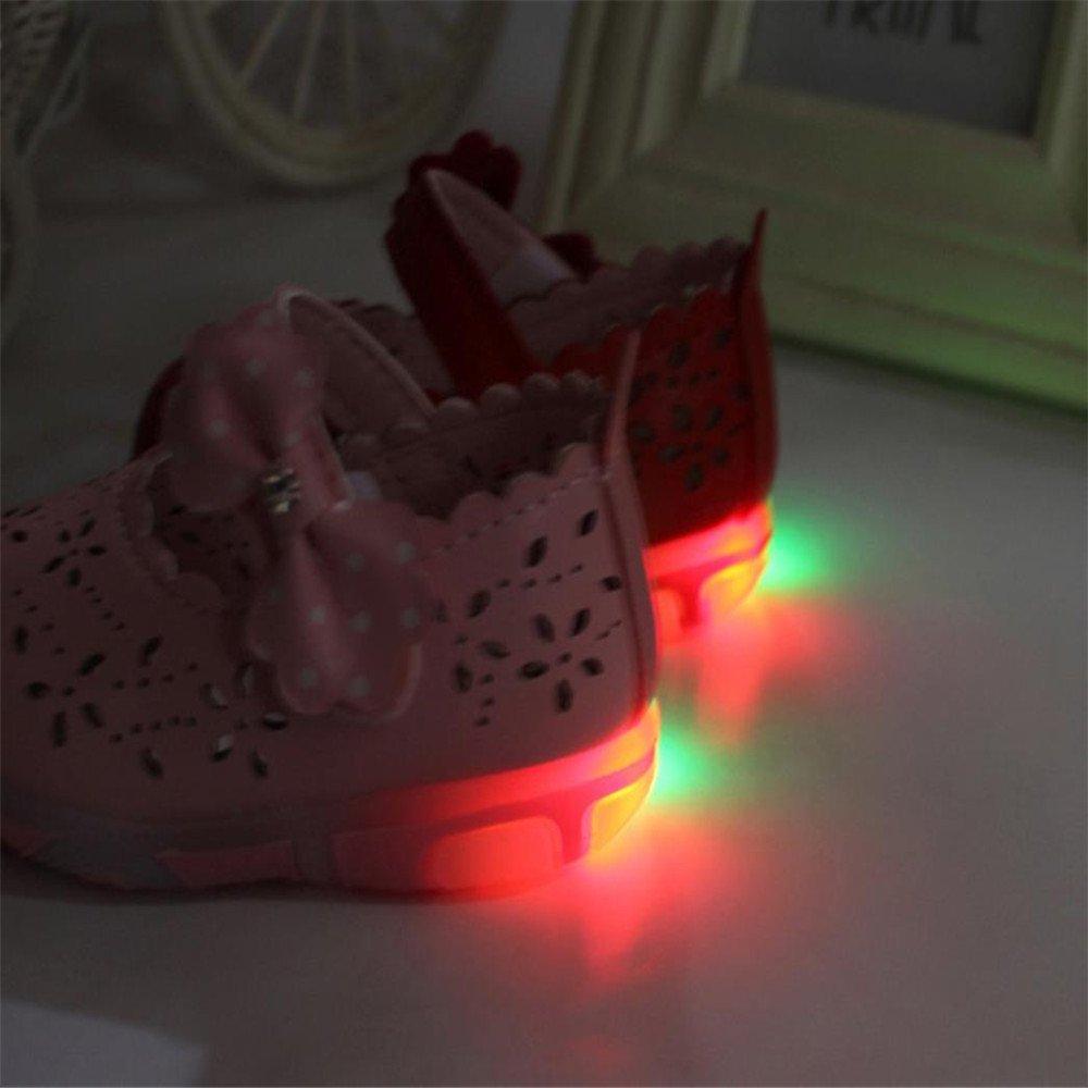 HCFKJ Ni/ñAs De Ni/ñOs Peque/ñOs Sandalias Bowknot Huecos Iluminados Zapatos De Princesa con Suela Suave