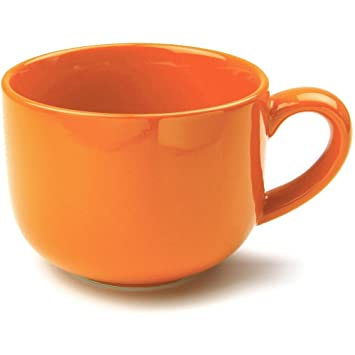 Amazon.com | OmniWare Teaz Cafe Orange Stoneware 24 Ounce Jumbo ...