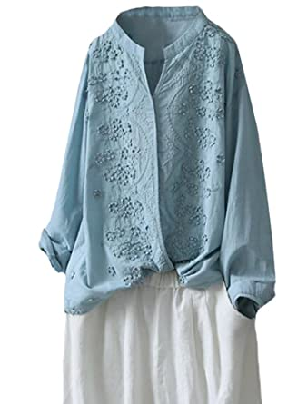 d3f0de482cc Minibee Women's Long Sleeve Blouses Standing Collar Embroidery Cotton Linen  Tunics Light Blue