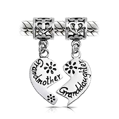 a9f42a6feaebd BFF Grandmother Granddaughter Puzzle Two Piece Split Heart Shape Dangle  Bead Charm Sterling Silver Fit European Bracelet