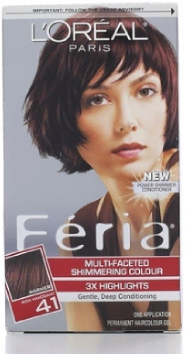 L'Oreal Feria Multi-Faceted Shimmering Colour, Level 3 Permanent, Rich Mahogany/Warmer 41 (Pack of 3) by L'Oreal Paris