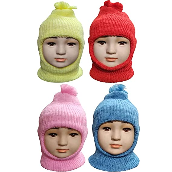 f4a6c865f8e3 Kidbee Baby Boy s   Baby Girl s Soft Woolen Monkey Cap Set Of 4 (6 ...