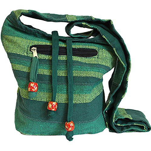 Pocket Bag Nepal side Shoulder Festival Green Forest Boho Cotton Hippy Flowers Wild 100 with Sling Bag BIIqr5