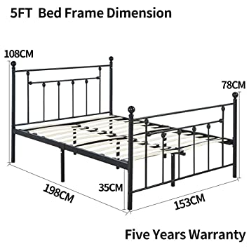 LANKOU Double Size Bed Frame 4FT6 Metal Platform Mattress Foundation/Box Spring Replacement with Headboard Victorian Style .UPS Delivery,Three Years Warranty 4FT6 Double Size
