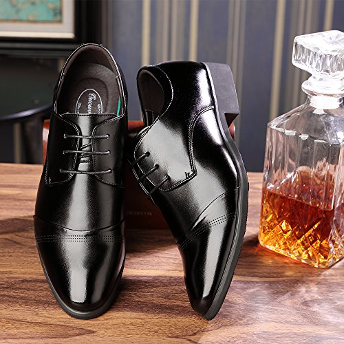 OUOUVALLEY Lace up Patent Leather Oxford Dress Shoes Formal Wedding Shoes 8808 (10 D(M) US, Black)