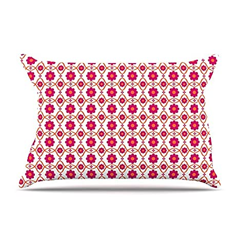 30 x 20 Kess InHouse Nandita Singh Floral Pink Magenta Pattern Fleece Pillow Case