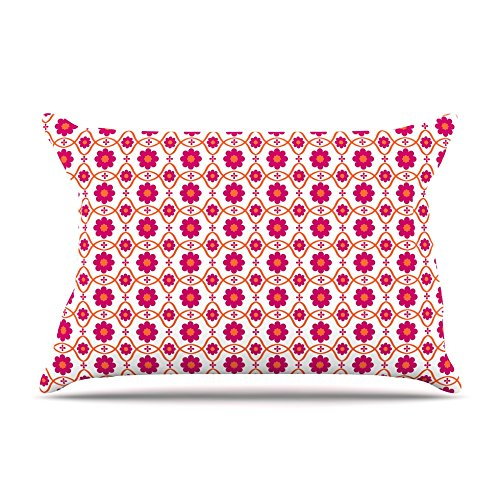 Kess InHouse Nandita Singh Floral Pink Magenta Pattern Fleece Pillow Case, 30 x 20