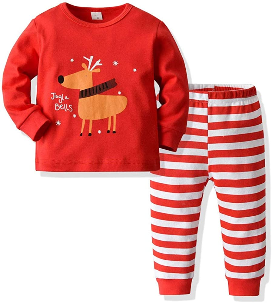 Navidad Beb/é ni/ño ni/ña Trajes Ropa Print Camiseta Tops Ropa Beb/é Pantalones Conjunto 0-24 Mes