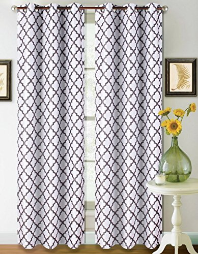 GorgeousHomeLinen K22 1 PC Modern Printed Design Room Darkening Insulated Blackout Window Curtain Drape Panel 35″ Width X 63″ 84″ 95″ 108″ Length (95″ Long, White Grey)