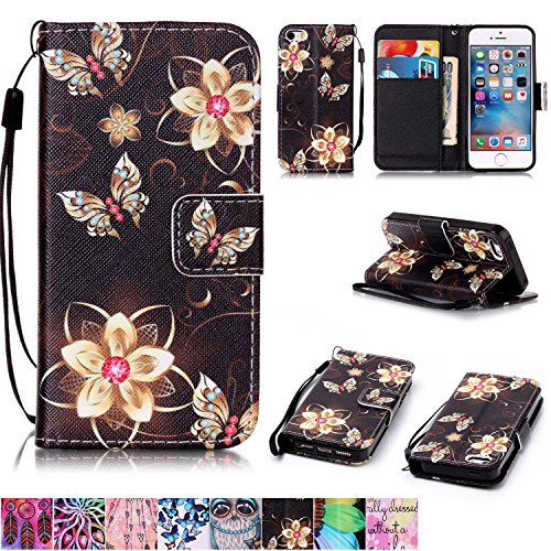iPhone 5/5S/SE Case,Firefish [Kickstand] [Card/Cash Slots] Durable Leather Full Body Protection Wallet Case with Magnetic Closure Wrist Strap for Apple iPhone 5/5S/SE-Golden Flower Butterfly