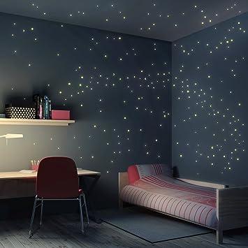 Wandtattoo Sternenhimmel Mond Sterne Kinderzimmer 250er Set selbstleuchtend