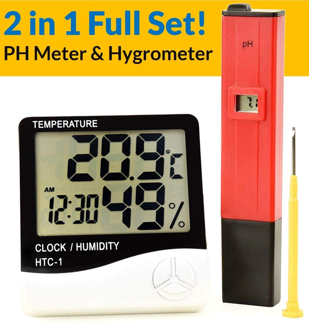 Hygrometer & PH Meter Bundle by Joyous - PH Digital Water Tester for Household Drinking Water, Swimming Pools & More - Humidity Monitor & Thermometer