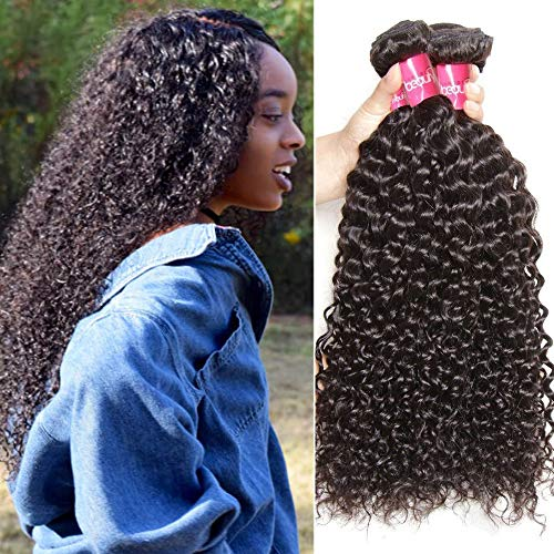 Sunber Brazilian Virgin Human Hair Weave Kinky Curly Wave 3 Bundles Unprocessed Brzailian Hair extensions Natural Color Can Be Dyed and Bleached Tangle Free (20 22 24inch)
