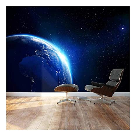 wall26 - Large Wall Mural - Shining Blue Earth in Universe Viewed from  Outer Space   Self-Adhesive Vinyl Wallpaper/Removable Modern Decorating  Wall ...