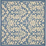 """Safavieh Courtyard Collection CY3416-3103 Blue and Natural Indoor/ Outdoor Square Area Rug, 7 feet 10 inches Square (7'10"""" Square)"""