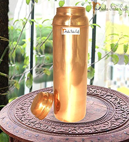 Prisha India Craft Ã'Â Traveller's 100 % Pure Copper Water Bottle for Ayurvedic Health Benefits - 850 ML / 28.74 oz - Copper Stylish Water Bottle - Christmas Gift Item by Prisha India Craft
