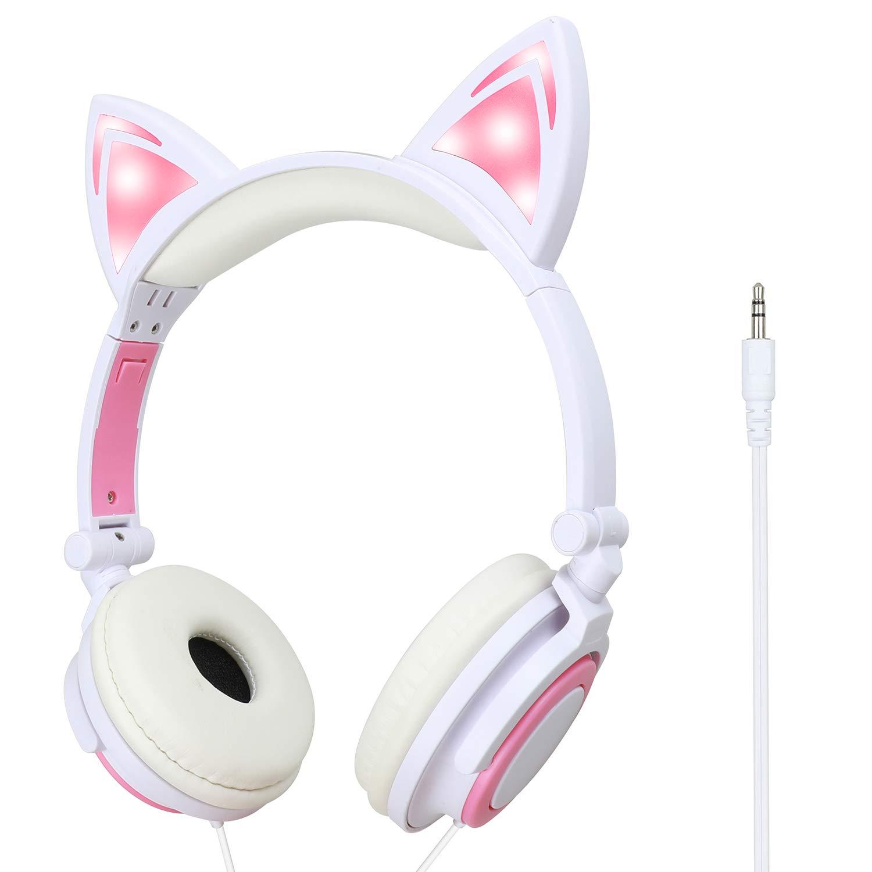 Cat Ear Headphones,Light Up Wired Adjustable Headphones On Ear,Foldable, Led Glowing Headphones for Kids Girls Boy School Supplies White
