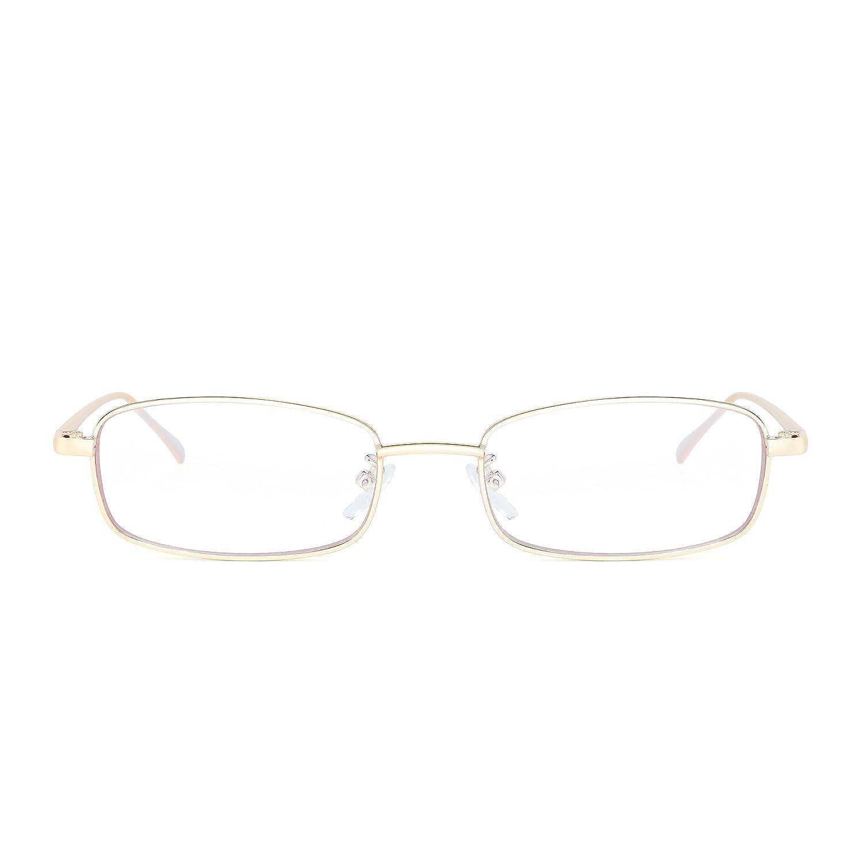 Jim Halo Gafas de Sol Teñido Lentes Claro Pequeño Delgado Rectangular Metal Anteojos Mujer Hombre