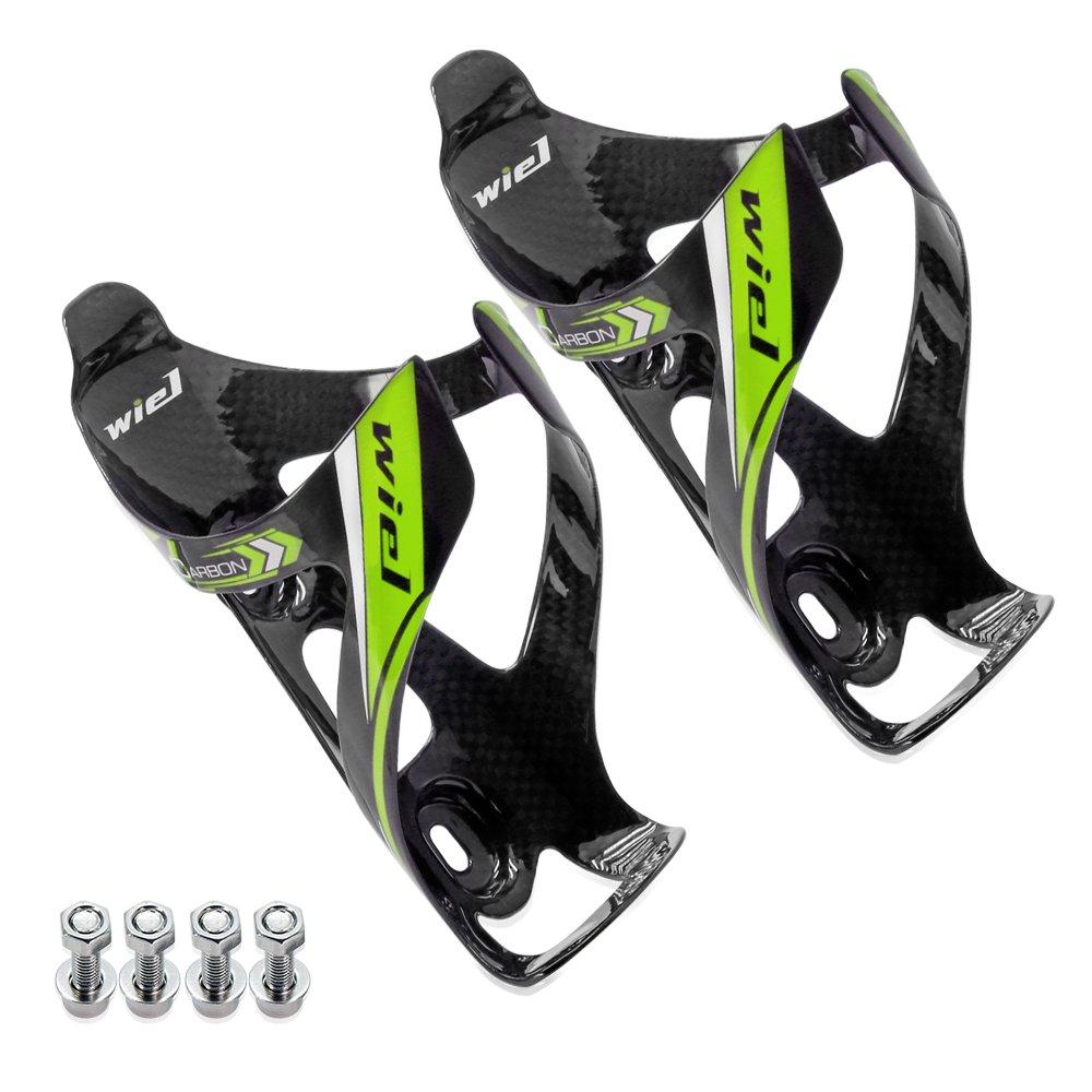 Wiel 100% Full Carbon Fiber Bicycle Bike Light Drink Water Bottle Cage Holder (2PCs Green) by Wiel