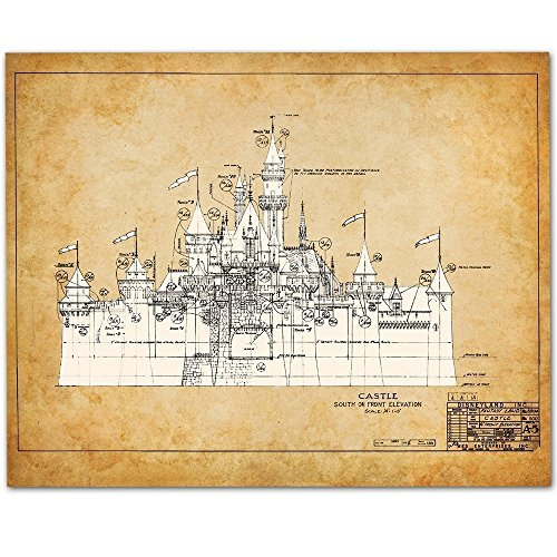Disneyland Castle - 11x14 Unframed Patent Print - Great Gift for Disney (Castle Poster Print)