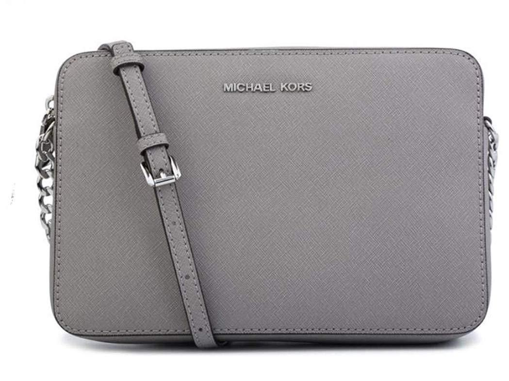 MICHAEL Michael Kors Women's Large East/West Cross Body Bag (Pearl Grey Saffiano)