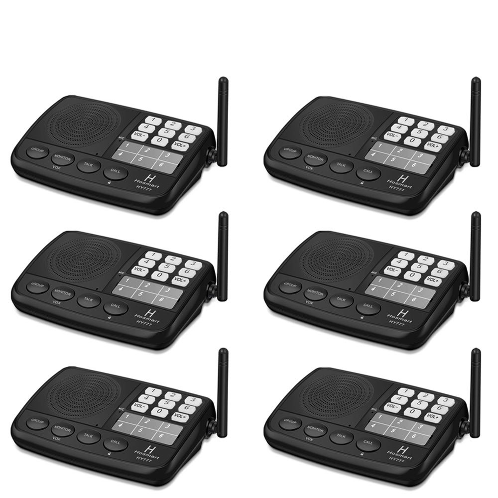 Hosmart 1/2 Mile LONG RANGE 7-Channel Security Wireless Intercom System for Home or Office (2017 New vesion) [6 Stations Black]